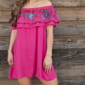 Umgee Fuchsia Embroidered Off Shoulder Dress M